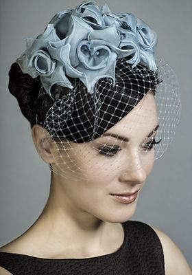Rachel Trevor-Morgan Millinery - Powder blue silk taffeta rose Alice band with face veil.