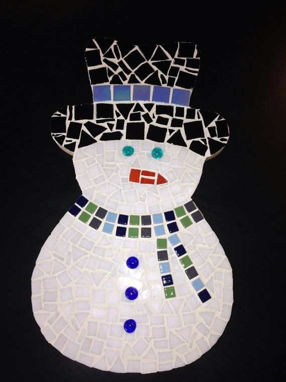 Mosaic Snowman  by ArtAndSoulBaby on Etsy, $50.00