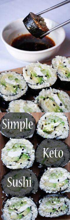Keto sushi made easy. No fancy equipment required and full of healthy, delicious low carb ingredients like cream cheese, cauliflower, avocado and cucumber. .: