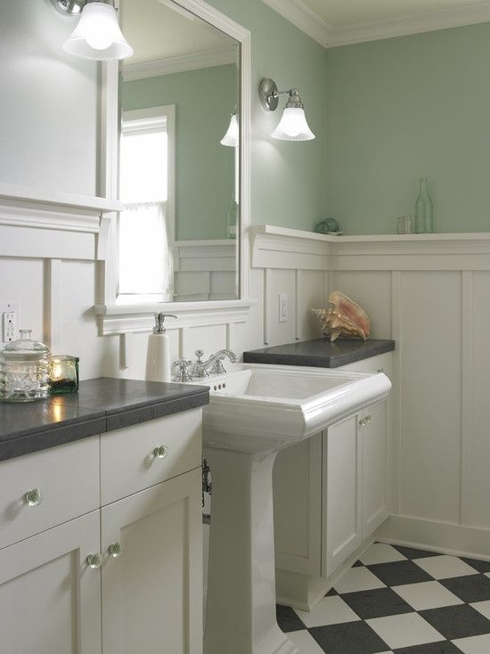 source: Goforth Gill Architects  Cottage bathroom with sage green walls paint color, board and batten walls, glossy white pedestal sink by Annika.L