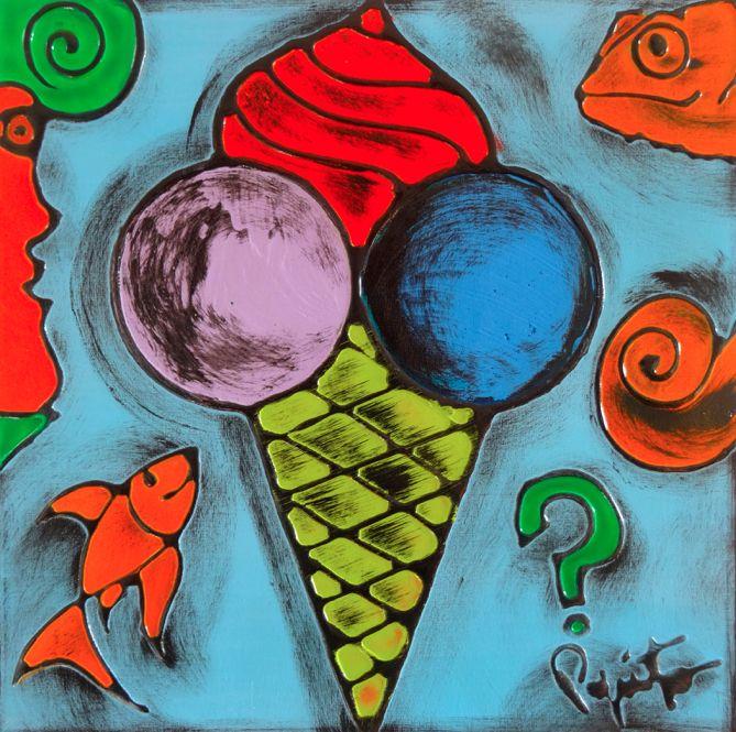 TENTAZIONI #01 - 40x40 cm. - Acrilic on canvas  #ICECREAM #TENTAZIONI #TEMPTATIONS