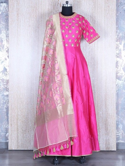 This product available only at G3+ Sutaria, Ghoddod Road Store Shop Magenta Pink Designer Inspired Silk Salwar Suit By G3+ Video Shopping