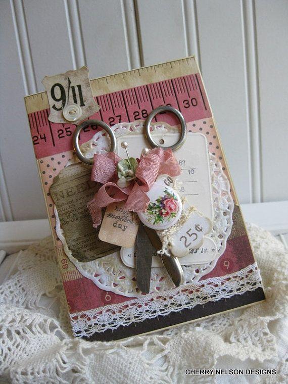 Открытка для портнихи скрапбукинг, днем рождения открытки