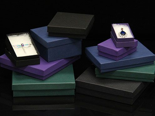Matte Color Jewelry Boxes Cotton Filled Jewelry Boxes Gift Boxes