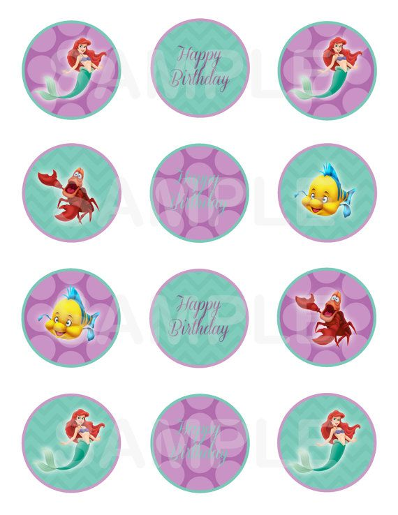 INSTANT Download The Little Mermaid Ariel Cupcake Toppers ...