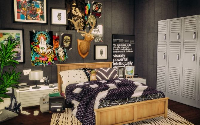 Sylvan bedroom at alachie brick sims via sims 4 updates for Bedroom designs sims 4