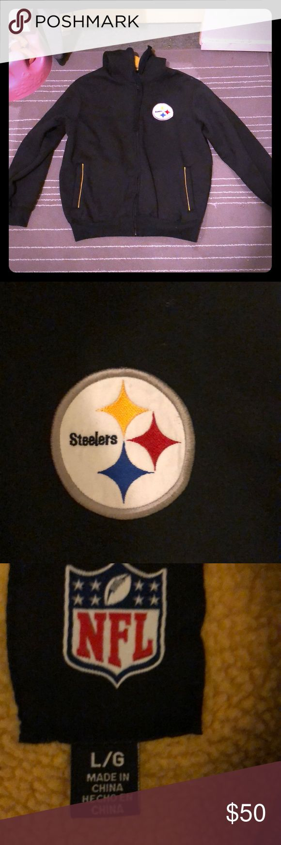 NFL STEELERS hoodie NFL / STEELERS / zipper hoodie / side pockets / super warm yellow inside shown in pic / excellent condition NFL Sweaters Zip Up