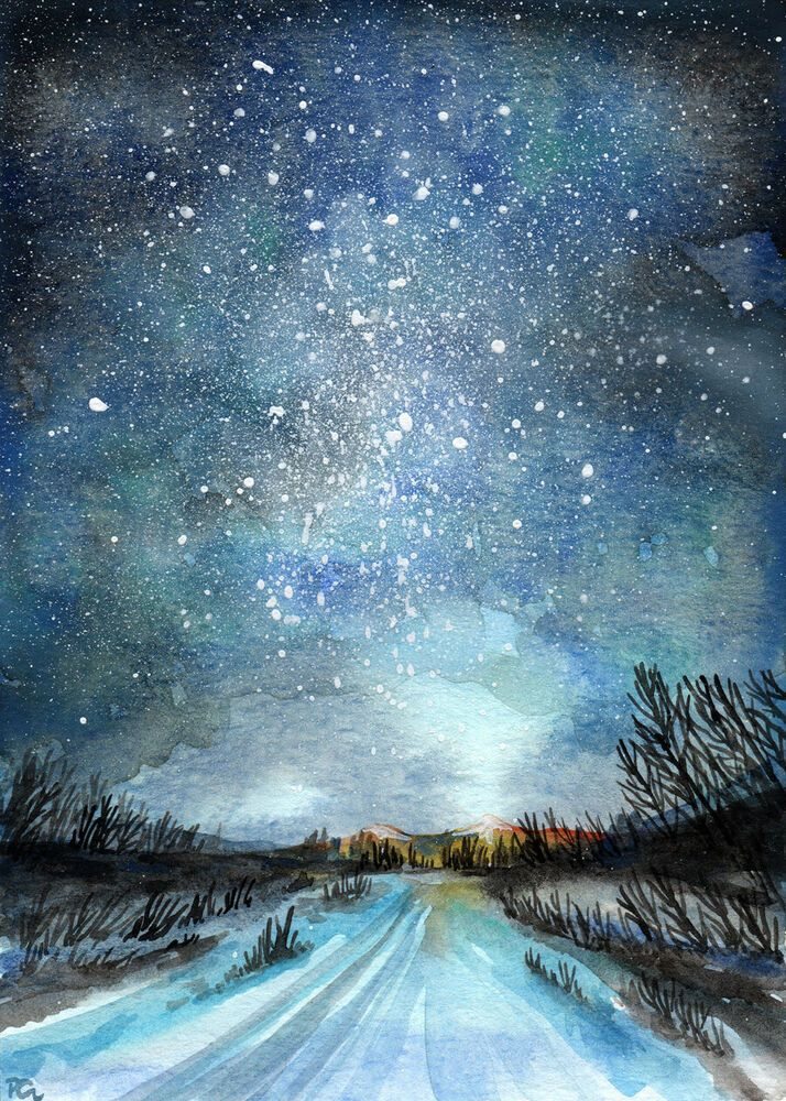 Original Starry Night Landscape Watercolor Painting Winter Road 5x7 By Patricia Winter Landscape Painting Night Landscape Starry Night Painting
