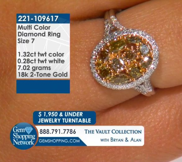 1.32 ct Multi Color Diamond & 0.28 ctw White Diamond 18K 2 Tone Y/w Gold 7.02gr Ring Size 7.0 Item #221-109617  Tune into Gem Shopping Network to see stunning gemstones and jewelry 24/7. Magnificent emerald rings, blue tanzanite earrings, platinum diamond bracelets, or estate sapphire necklace are just a click away! Visit our website to day and discover your jewelry destination.