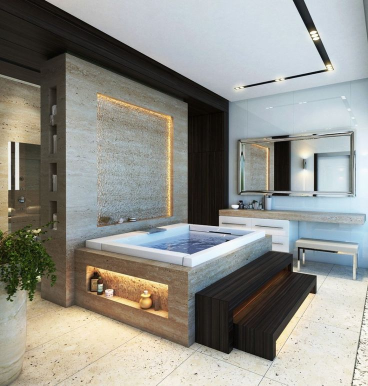 Bathroom, Bathroom Design Ideas For Bathroom Ceiling Design Ideas With Mirror And Modern Bathtubs Design Ideas With White Ceramic Tile Floor Design Ideas With Ceiling Lamps: Mesmerizing Bathroom with Fireplace Design