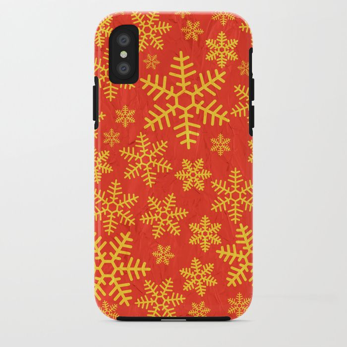 Christmas Snowflakes iPhone Case by Fimbis        iPhone x, iPhone 8, snowflakes, red, gold, festive, xmas, fashion,
