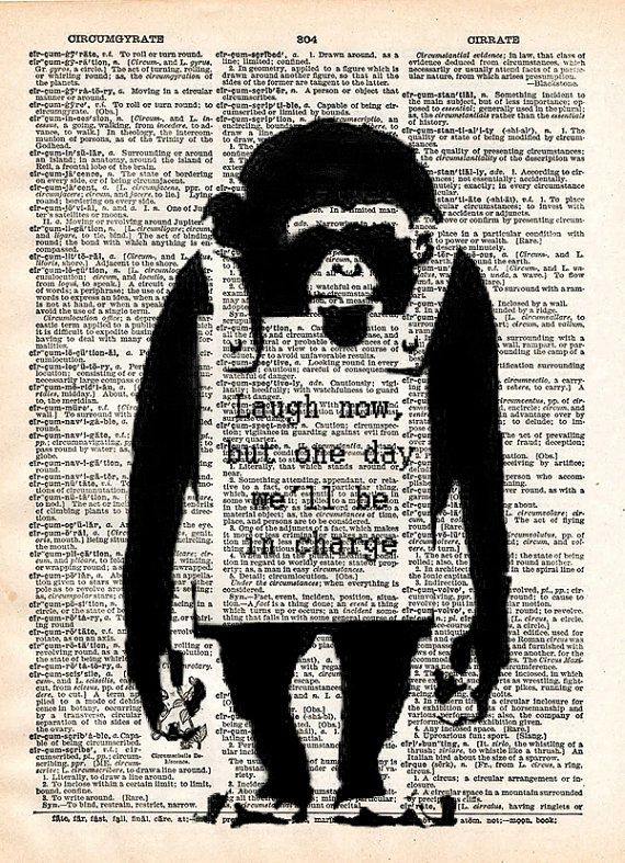 Banksy wall art Laugh now monkey print  dictionary art by Loft817, $7.99