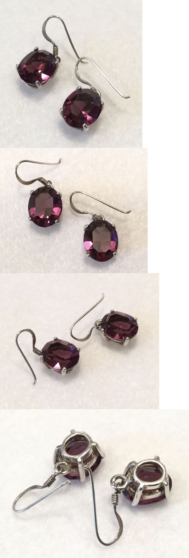 Earrings 165041: Retro Qvc 925 Sterling And Dark Amethyst Oval Solitaire Dangle-Drop Earrings BUY IT NOW ONLY: $49.99