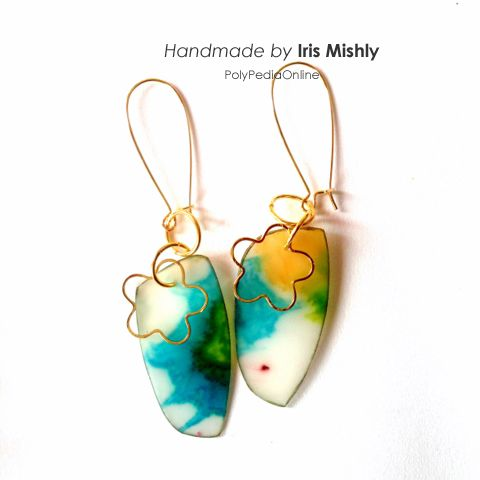 """Earrings, made with polymer clay and alcohol inks, based on """"INKredible"""" tutorial http://www.polypediaonline.com/133688/INKredible_PolymerClay_AlcoholINKS_Tutorial"""