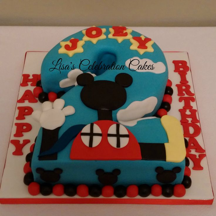 Mickey Mouse clubhouse themed vanilla number 2 cake.