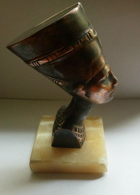Vintage Real Egyptian bronze Resin Sculpture Head by bluestyle
