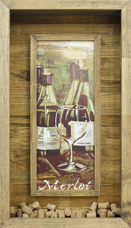 Quadro Porta Rolhas Vinhos Merlot 40x70cm - Decore Pronto