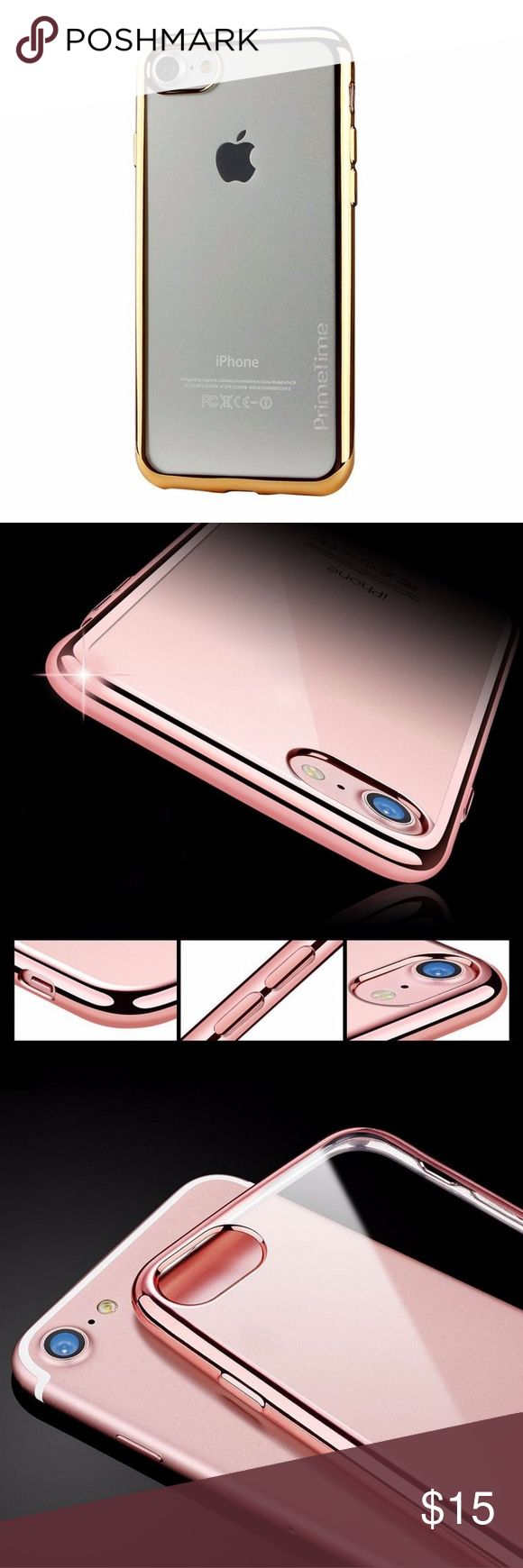 PrimeTime Luxury Elite Clear Case For iPhone 7 * Clear back with metallic gold bumper - also available with silver, blue or pink bumper  * Luxury Eletroplated Crystal Clear Soft TPU * Ultra Slim Profile * Soft to the touch * Drop Tested Shockproof * Superior Fit * PrimeTime Retail Packaging PrimeTime Accessories Phone Cases
