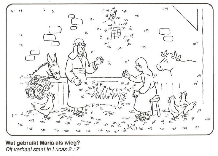 Maria legt baby Jezus in de voerbak voederbak, kribbe van stip naar stip