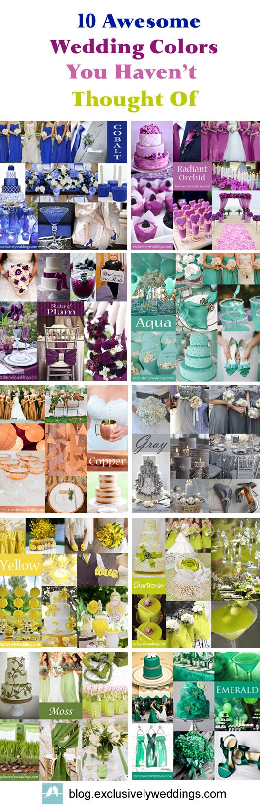 10 Awesome Wedding Colors You Haven't Thought Of ... Lots of great info for brides looking for ideas and inspiration.