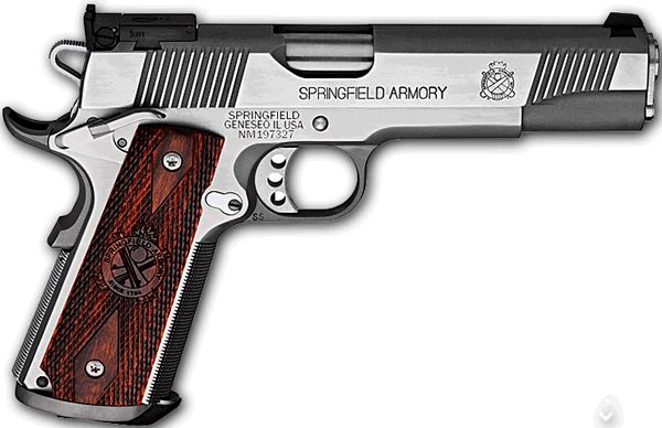 "Springfield Armory 1911-A1 Trophy Match .45 ACP Pistol, 5"" Barrel, Target Model, Stainless Steel, Mag Funnel with Wood Grips"