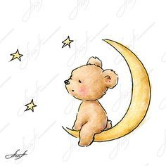 The drawing of cute teddy bear sitting on the moon and watching the stars. Printable Art. Digital file. Instant Download
