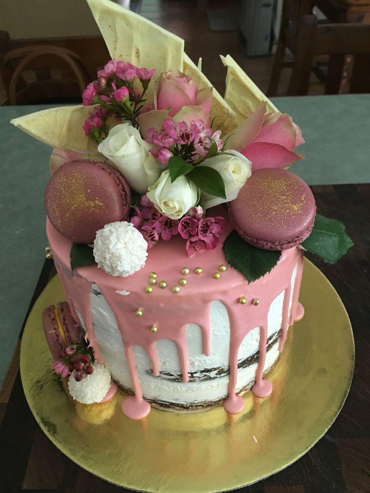 Pink Chocolate Drip Cake With Flowers And Macarons C Amp Ke