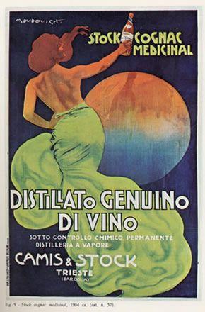 """Anno: 1904 Soggetto: """"Stock Cognac medicinal, distillato genuino di vino, Camis & Stock, Trieste"""" - stampa Chappuis, Bologna"""