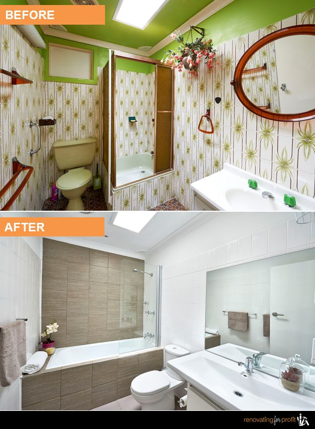 Bathroom renovation before & after See more exciting transformations at: http://www.renovatingforprofit.com.au/