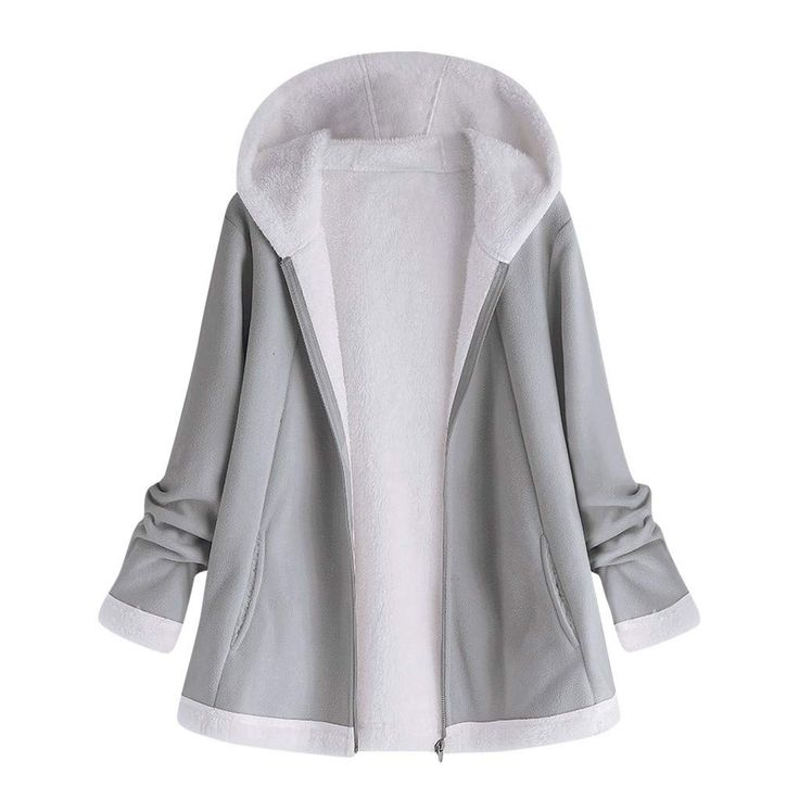 aihihe Plus Size Coats Jackets for Women Witer Warm Fluff Lining Zip Up Solid Sh…