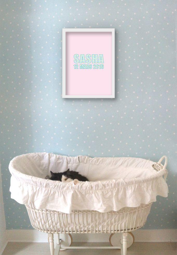 Affiche faire-part de naissance Lovely www.dancourt.net © 2015 DANCOURT #affiche #fairepart #naissance #birth #annoucement #fille #creatif #tendance #design #original #elegant #boheme #vintage #liberty #prenom #turquoise #rose