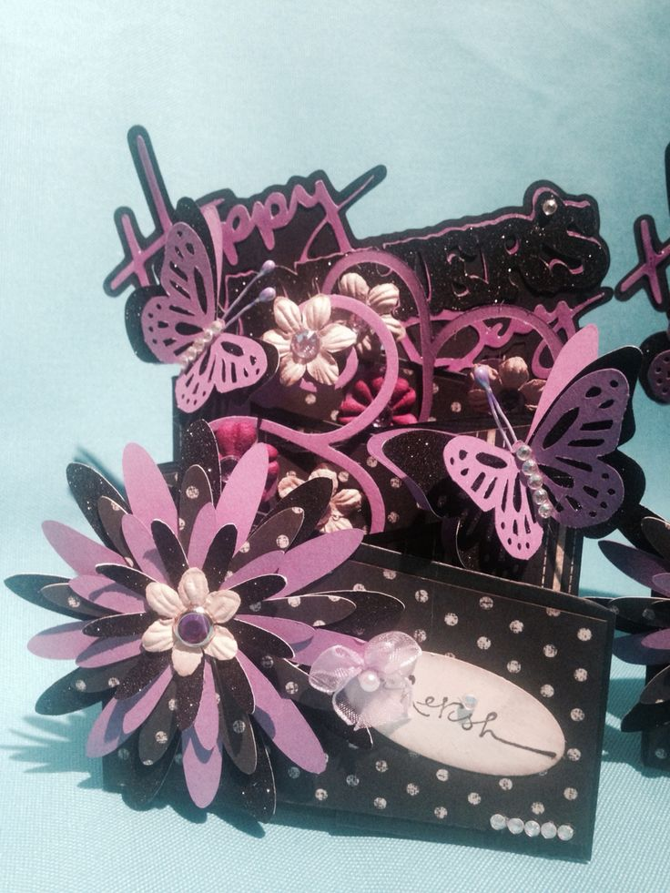 Mother's Day cards ... Cascading card, black & purple - 4