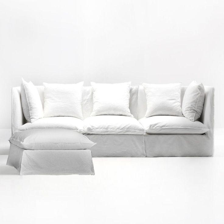 Gervasoni - Ghost Sofa + Ottoman - white/fabric Lino bianco