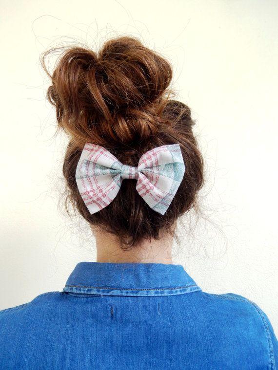 Hair Bow Clip in Pastel Checked Fabric - Barrette Hair Bow Plaid - Romantic Hair Bow - Alligator Clip Bow -Cute Present for girls