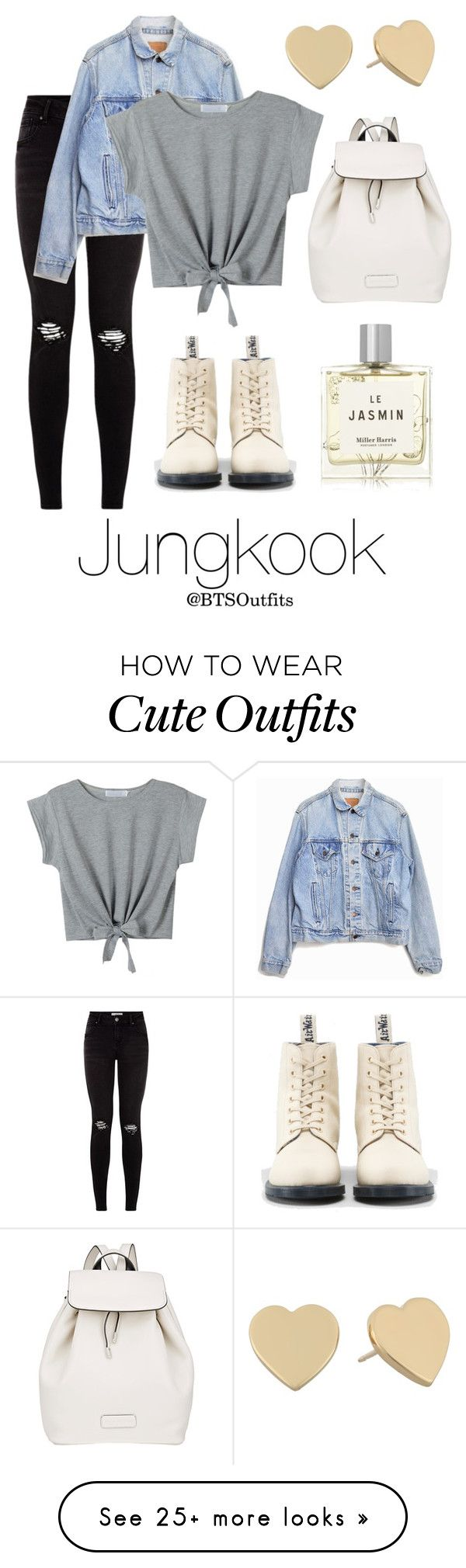 """""""Cute/Flirty Outfit with Jungkook"""" by btsoutfits on Polyvore featuring Levi's, Dr. Martens, Marc by Marc Jacobs, Miller Harris and Kate Spade"""