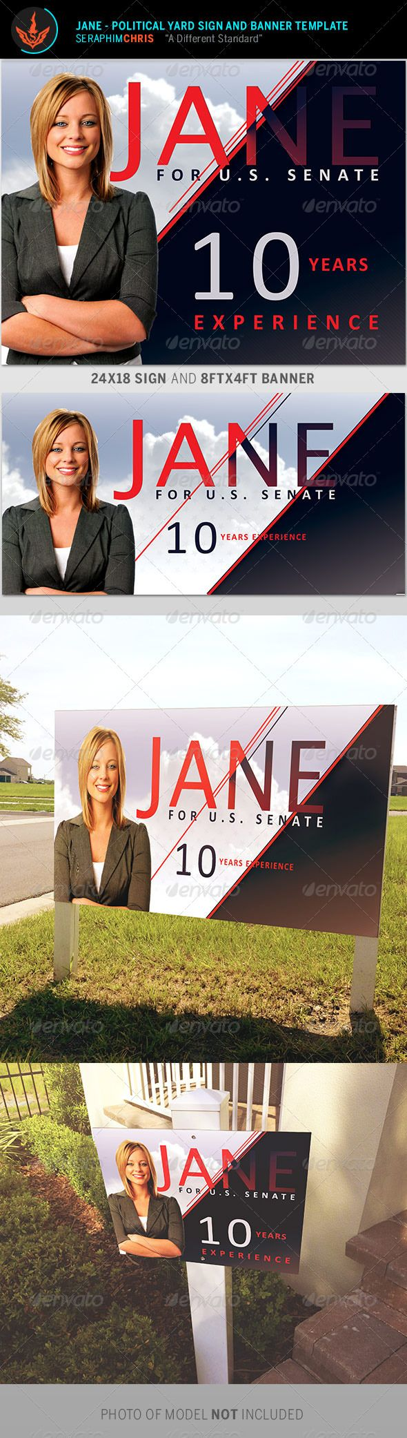 With this Jane – Political Yard Sign and Banner Template you'll have the highest quality presentation. You'll find this file easy to use. This file is exclusive to graphicriver.net