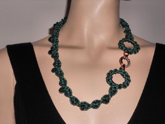 Macramé necklace with faceted glass stones copper by AngelaMacrame, €65.00