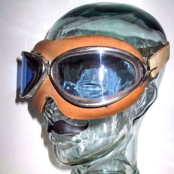 Antique WWII HB Resistal Blue Rocket Aviator Goggles Vtg ...
