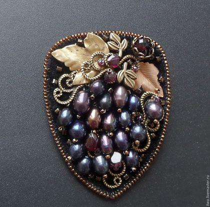 GALINA GEM работа. Купить Брошь Виноградная гроздь.. Handmade. Брошь, виноградная гроздь