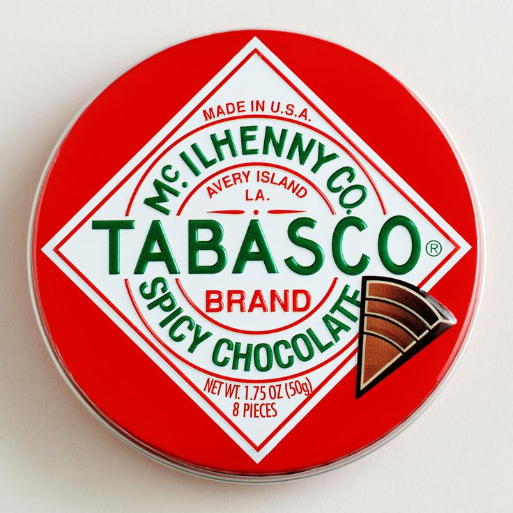 The Chocolate Traveler Tabasco Chocolate Tin adds spice to the holidays. Nestled in a bright Tabasco tin, these velvety smooth dark chocolate wedges have an extra kick that's seriously addictive. DETAILS & DIMENSIONS Set of 6 Made in United States 1.75 oz. each