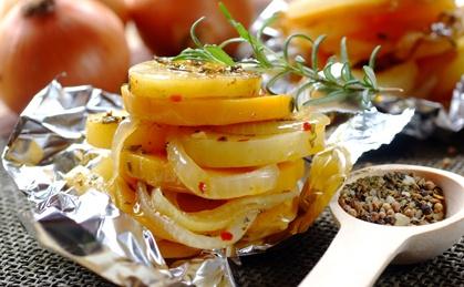 Potato, Onion And Butternut Grills