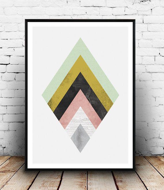 Geometric decor, Abstract wall art, Watercolor art, Home decor, Wall print, Nordic design, pink yellow, modern art, office decor, triangles