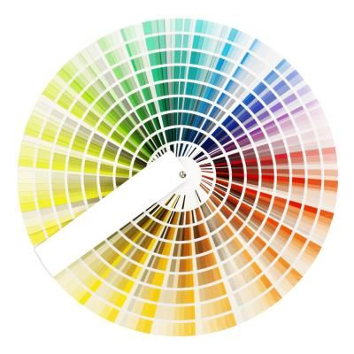 Creating harmonious room color combinations using a color wheel.