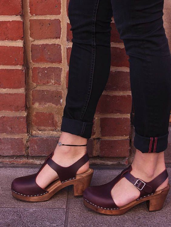 c5cb037be2d74 Swedish Clogs Highwood T-Bar Aubergine Brown Base Leather by Lotta ...