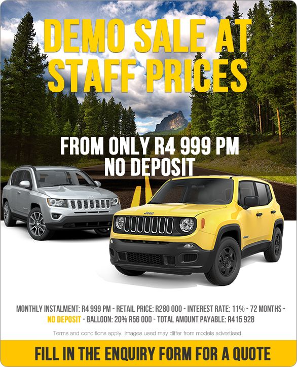 Jeep Compass and Renegade - From R4 999 pm. No Deposit