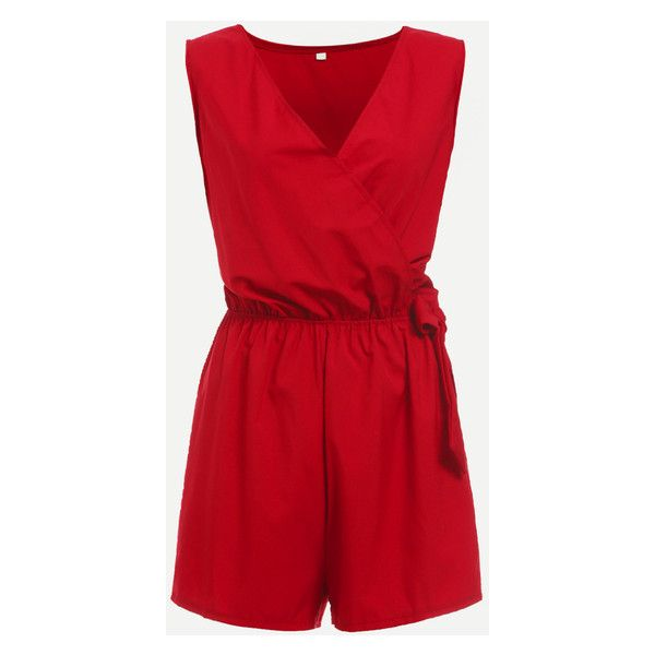 Red Surplice Front Self Tie Romper (120 EGP) ❤ liked on Polyvore featuring jumpsuits, rompers, red romper, playsuit romper and red rompers