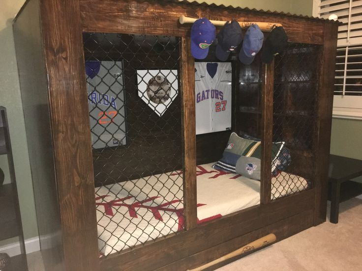 Baseball dugout bed that Easton s daddy made for him  Thanks to Cristen at  GAandtheBear forBest 25  Boys baseball bedroom ideas on Pinterest   Baseball wall  . Baseball Bedroom. Home Design Ideas