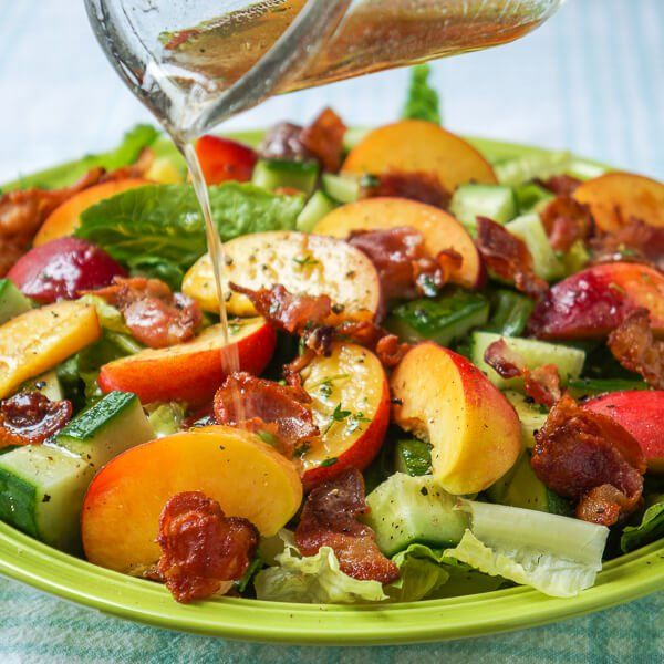 Honey Lemon Vinaigrette on Peach Bacon Salad - a vinaigrette recipe that goes very well with salads using summer fruits like peaches or strawberries.