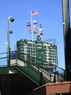 Wall Mural Chicago, Illinois   April 26, 2010: Scoreboard And Bleachers At  Wrigley