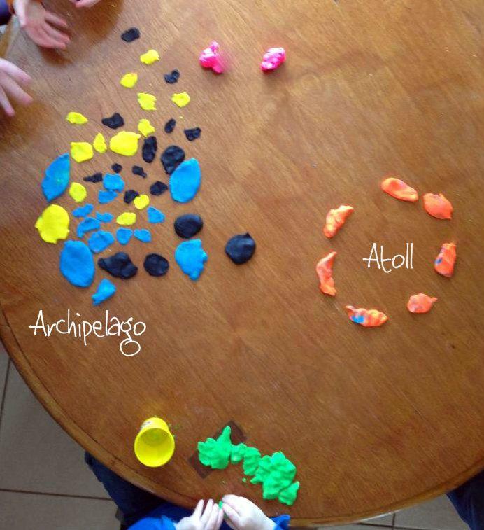 Descripció geogràfica amb plastilina. Hands on geography idea: groups make landforms out of playdough.